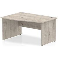 Trexus 1400mm Wave Desk, Left Hand, Panel Legs, Grey Oak