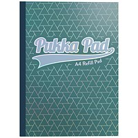 Pukka Pad Glee Sidebound Refill Pad, A4, Feint Ruled with Margin, Punched, 400 Pages, Green, Pack of 5