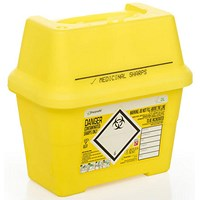 Click Medical Sharps Bin, Temporary & Final Closure Feature, 2 Litre, Yellow