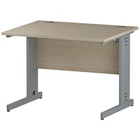 Trexus 1000mm Rectangular Desk, Cable Managed Silver Legs, Maple