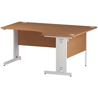 Trexus 1600mm Corner Desk, Right Hand, Cable Managed White Legs, Beech