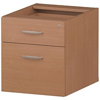 Trexus Fixed 2 Drawer Pedestal, Beech