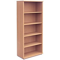 Trexus Tall Bookcase, 4 Shelves, 2000mm High, Beech