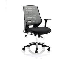 Sonix Relay Chair, Folding Arms, Airmesh, Black & Silver