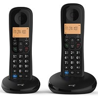 BT Everyday 1 Telephone 50 Contact Storage Caller ID Answer Phone Twin Black Ref 90665-1