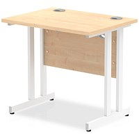 Trexus 800mm Slim Rectangular Desk, White Legs, Maple
