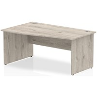 Trexus 1600mm Wave Desk, Left Hand, Panel Legs, Grey Oak