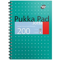 Pukka Pad Metallic Wirebound Jotta Notebook, B5, Ruled & Perforated, 200 Pages, Green, Pack of 3