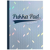 Pukka Pad Glee Sidebound Refill Pad, A4, Feint Ruled with Margin, Punched, 400 Pages, Light Blue, Pack of 5
