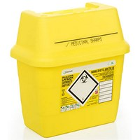 Click Medical Sharps Bin, Temporary & Final Closure Feature, 3 Litre, Yellow