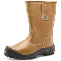 Click Footwear Lined Rigger Boots, Scuff Cap, PU/Leather, Size 10, Tan