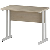 Trexus 1000mm Slim Rectangular Desk, White Legs, Maple