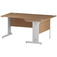Trexus 1600mm Corner Desk, Right Hand, Cable Managed White Legs, Oak