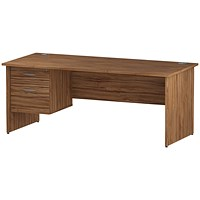 Trexus 1800mm Rectangular Desk, Panel Legs, 2 Drawer Pedestal, Walnut