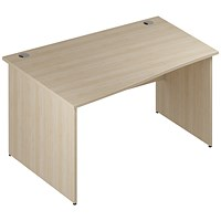 Trexus 1400mm Wave Desk, Left Hand, Panel Legs, Maple