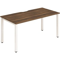 Trexus 1 Person Bench Desk, 1400mm (800mm Deep), White Frame, Walnut
