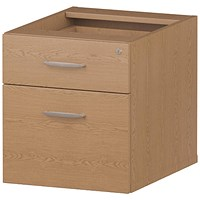 Trexus Fixed 2 Drawer Pedestal, Oak