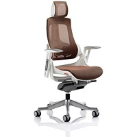 Adroit Zure Chair with Headrest, Mesh, Mandarin