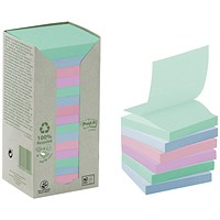 Post-it Recycled Z-Note Tower, 76x76mm, Assorted Pastel, Pack of 16 x 100 Notes