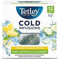 Tetley Cold Infusions Mint, Lemon and Cucumber - Pack of 12