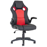 Trexus Enzo Leather Racing Chair - Red and Black