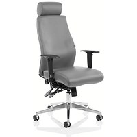 Adroit Onyx Ergo Posture Chair with Headrest, Leather, Grey