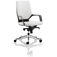 Adroit Xenon Medium Back Executive Chair, Black Shell, White Leather