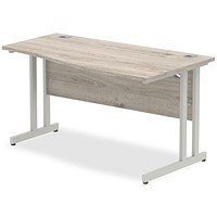 Trexus 1400mm Wave Desk, Right Hand, Silver Legs, Grey Oak