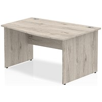 Trexus 1400mm Wave Desk, Right Hand, Panel Legs, Grey Oak