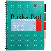 Pukka Pad Metallic Project Book, A4, Ruled & Perforated, 200 Pages, Green, Pack of 3