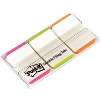 Post-it Index Tabs Lined Strong, Pink, Bright Green & Orange, Pack of 66