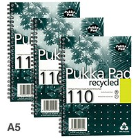 Pukka Pad Recycled Wirebound Notebook, A5, Perforated, Ruled, 110 Pages, Pack of 3