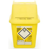 Click Medical Sharps Bin, Temporary & Final Closure Feature, 4 Litre, Yellow
