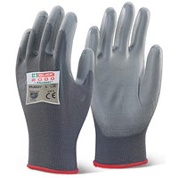 Click 2000 Pu Coated Gloves, Medium, Grey, Pack of 100