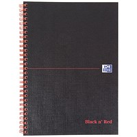 Black n' Red Hardback Wirebound Notebook, B5, Ruled with Margin, 140 Pages, Pack of 5