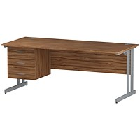 Trexus 1800mm Rectangular Desk, Silver Legs, 3 Drawer Pedestal, Walnut