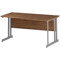 Trexus 1600mm Wave Desk, Right Hand, Silver Legs, Walnut