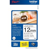 Brother P-touch TZE Label Tape, 12mmx4m, Black on White, Pack of 2, Ref ZTZE231TWINU1