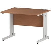 Trexus 1000mm Rectangular Desk, Cable Managed White Legs, Beech