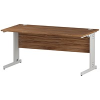 Trexus 1600mm Rectangular Desk, Cable Managed White Legs, Walnut