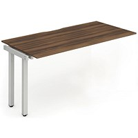 Trexus 1 Person Bench Desk Extension, 1600mm (800mm Deep), Silver Frame, Walnut
