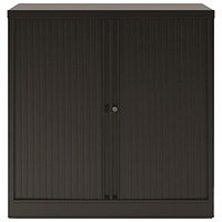 Trexus Medium Side Opening Tambour Cupboard, 1000mm High, Black