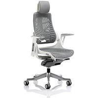 Adroit Zure Chair with Headrest, Rubberised, Grey