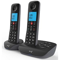 BT Essential 1 Twin Telephone Answering Machine with Nuisance Call Block Feature Black Ref 90658