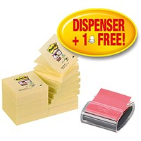 Post-it Pro Z-Note Dispenser and Super Sticky Pads, 76x76mm, 16 Pads