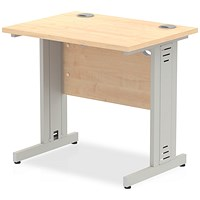 Trexus 800mm Slim Rectangular Desk, Cable Managed Silver Legs, Maple