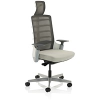 Adroit Exo Posture Chair, Mesh Back, Fabric Seat, Charcoal Grey Light Grey