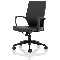 Trexus Hampton PU Leather Medium Back Chair - Black