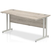 Trexus 1600mm Wave Desk, Right Hand, Silver Legs, Grey Oak