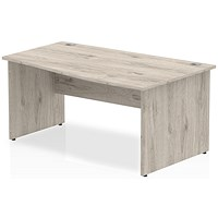Trexus 1600mm Wave Desk, Right Hand, Panel Legs, Grey Oak